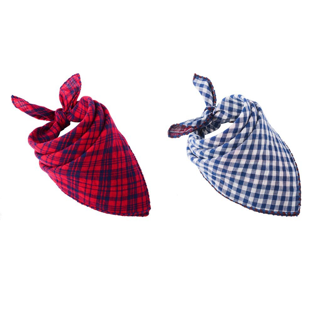 Pet Dog Bandana Scarf Pack Bibs Reversible Plaid Printing Kerchief Set Accessories for Small to Large Dogs