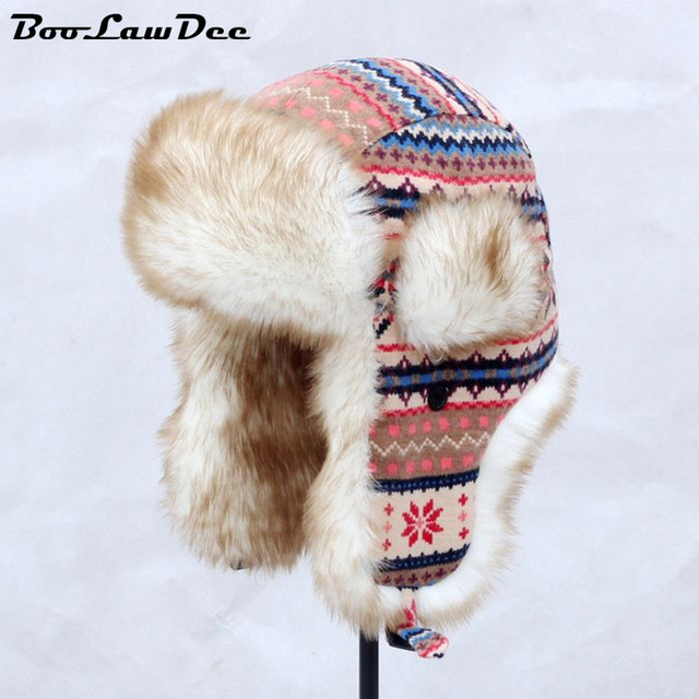 BooLawDee Женщины мода Русский стиль зимние шапки для женщин охотник шляпа с ушами искусственного меха зимние bomber шляпы 4A425