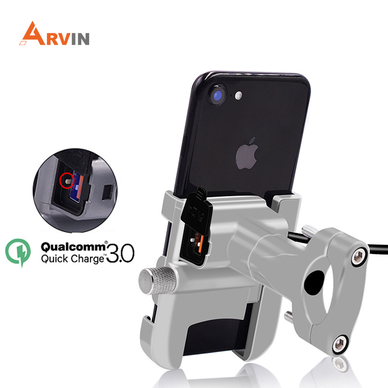 ARVIN Motorcycle Universal Aluminum Phone Holder With USB Charger Moto Handlebar Bracket Stand For 4-6.2 Inch Mobile Phone Mount
