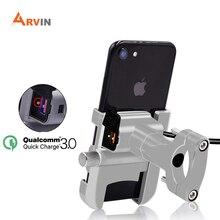 ARVIN Soporte Universal de aluminio para teléfono móvil, base para manillar de motocicleta, con cargador USB, para montura para teléfono móvil de 4 6,2 pulgadas