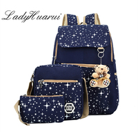 4 Colors Backpacks Brand 3 Pieces Sets Women Backpack Star Printing Canvas School Bags For Teenager