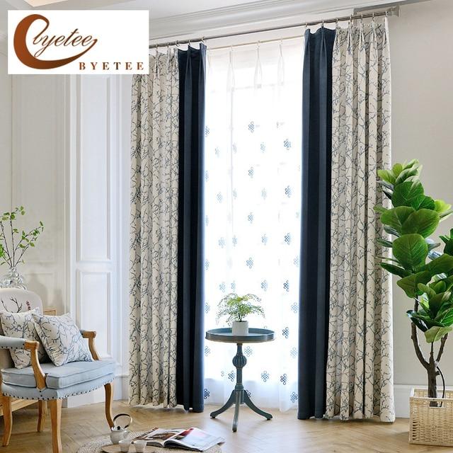 Byetee] ventana lujo moderno cortina Telas Sala Ventanas cocina ...