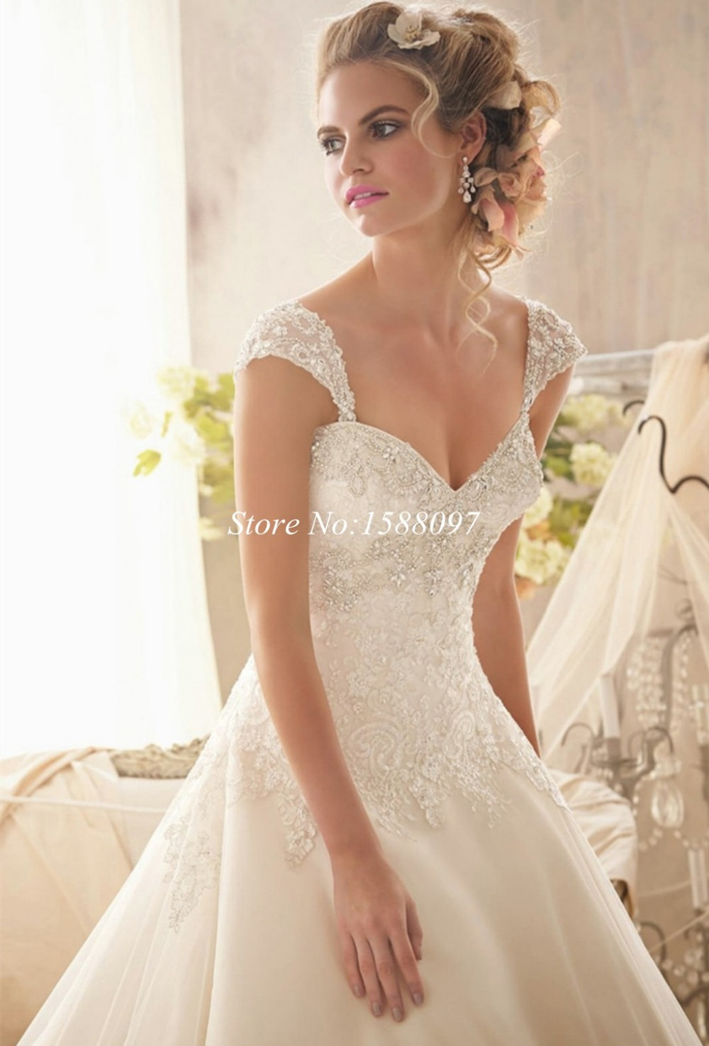 New designed 2015 beaded lace wedding gowns ivory cap sleeve ...