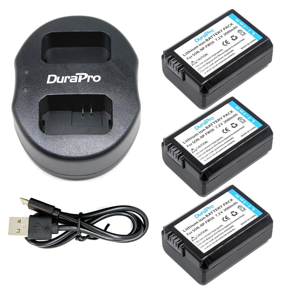 3 pcs 2000mAH NP-FW50 NP FW50 camera <font><b>Battery</b></font> +USB DUAL charger for <font><b>Sony</b></font> Alpha 7 7R 7RII 7S a7R a7S a7R II a5000 <font><b>a5100</b></font> a6000