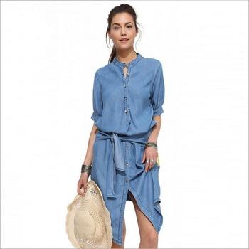 bf50b320bf71 Boho повседневное лоскутное джинсовое платье для женщин 2016 лето ropa mujer  Vestiti Donna Robe Dete Zomer Jurken Yaz Elbise Moda Mujer AX03