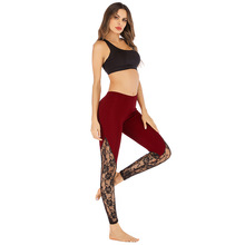 Sexy Women Yoga Gym Lace Rose Leggings Transparent Hip Up Seamless Floral Mujer Fitness Running Jogging Sport Wear Female