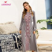 42b6ae9426 Elegant Long Print Black Gray Muslim Islamic Women Dress Dubai Kaftan Abaya  Vestidos De Festa Maxi Loose Summer Beach Dress