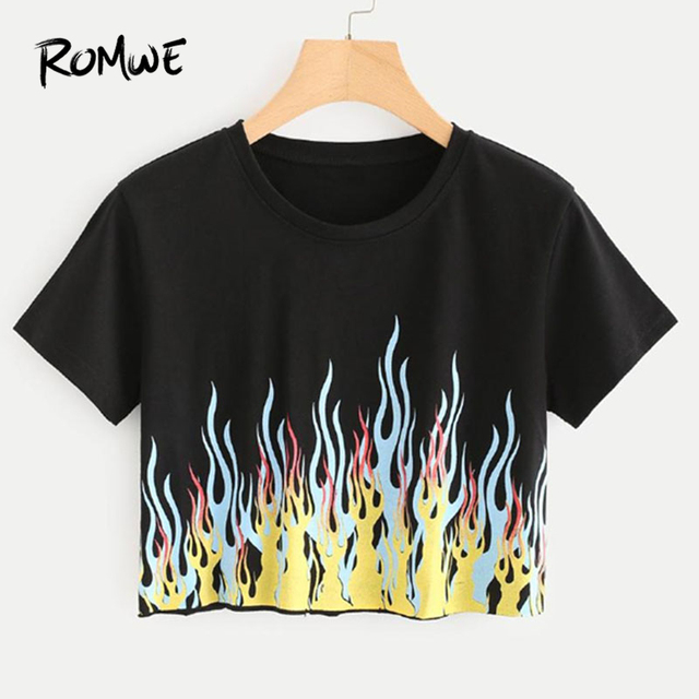 1f1f408200fd ROMWE New Design Fire Print Crop Tee Shirt Round Neck Short Sleeve Casual  Women Top Summer Black T Shirt