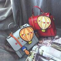 Kobiet Dużego Ciężaru Torby Torba Na Co Dzień Sprzęgła Kobiet Torebki 2017 Harajuku Cartoon Hot Air Balloon Splice Podróży Torby Pojedyncze Ramię Famale