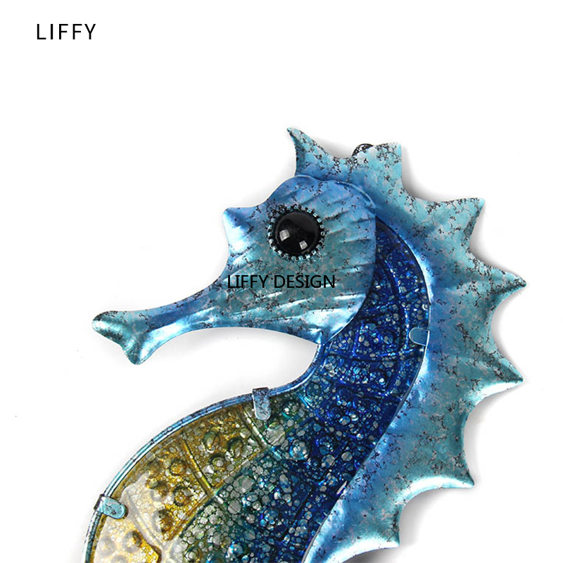 Home Decor Metal Seahorse of Wall Decor with Glass for Garden Decoration Animales Jardin Miniature Statues and Garden Sculpture 2