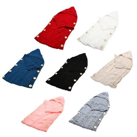 Baby Infant Swaddle Wrap Warm Wool Blends Crochet Knitted Hoodie Swaddling Wrap Blanket Sleeping Bag Karachi