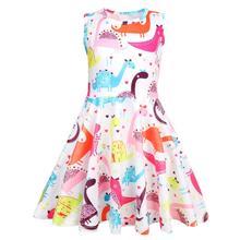 summer Baby girl clothes dinosaur dress kids dresses for Girls Halloween costume cosplay Party Vestidos 1208 цена в Москве и Питере