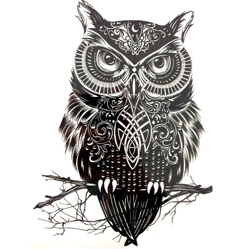 1 Piece Large Black Owl Arm Fake Transfer Tattoo Stickers 1