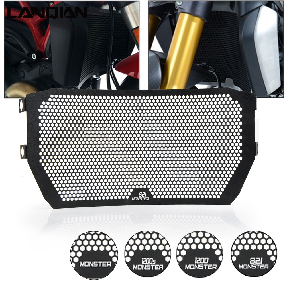 For DUCATI MONSTER 821 MONSTER 1200/1200S 2014 2015 2016  Motorcycle Accessories Radiator Guard Protector Grille Grill CoverFor DUCATI MONSTER 821 MONSTER 1200/1200S 2014 2015 2016  Motorcycle Accessories Radiator Guard Protector Grille Grill Cover