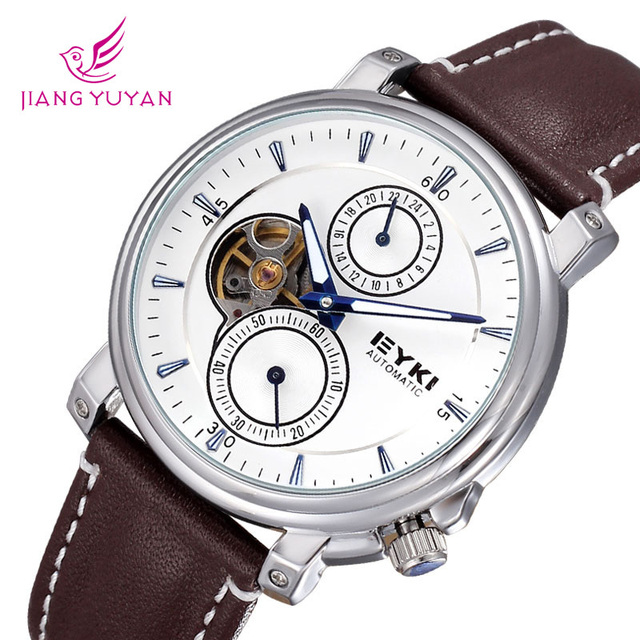 New Arrival EYKI Brand man Watch Luxury Automatic Self-wind Leather Hollow Skeleton Watches Men
