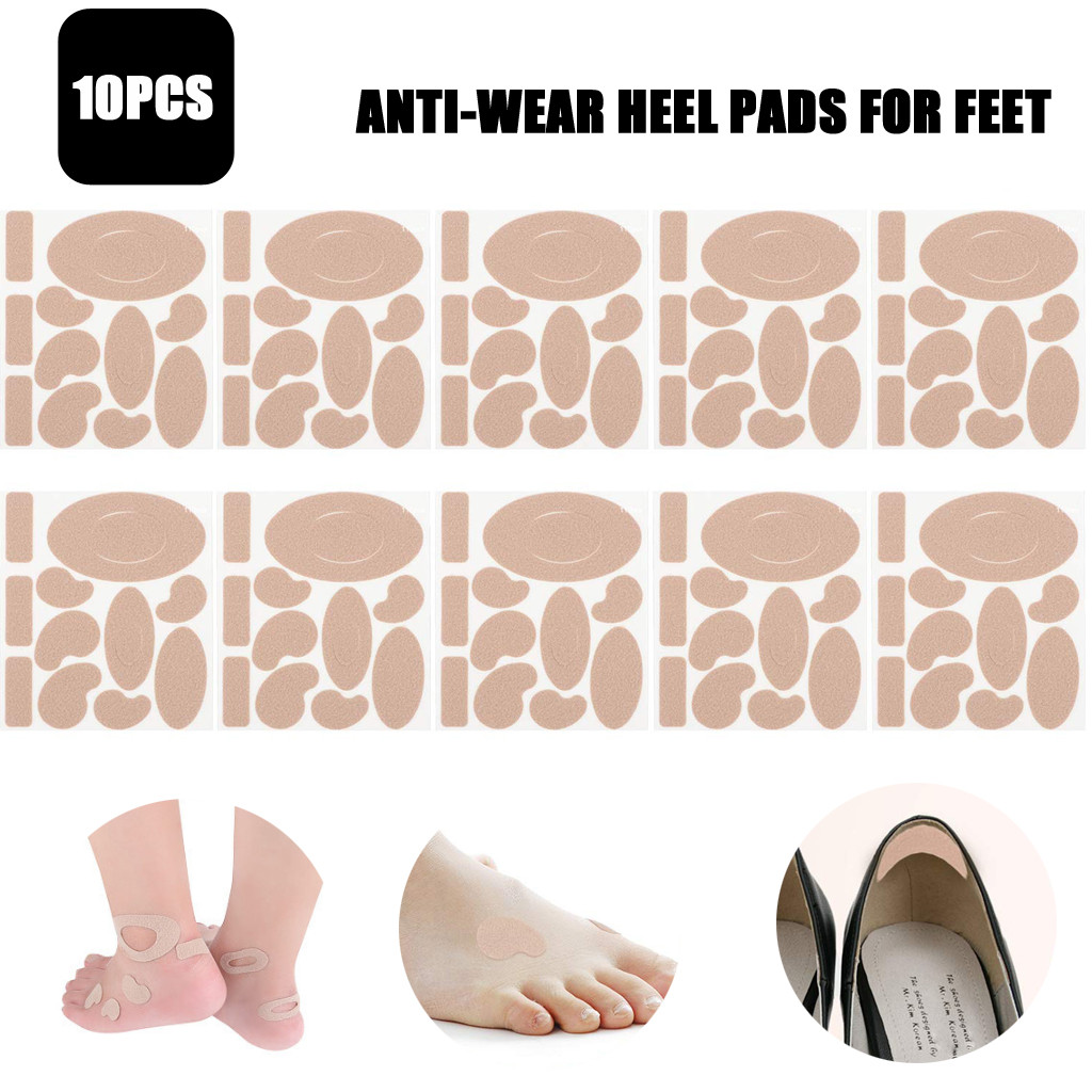 10 PCS Foot Care Tools Heel Stickers Blister Prevention Pads Anti-wear Heel Skin Pads Feet Fabric Flannel Padding Relief Brown