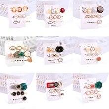3pcs Korea Fashion Women Metal Hairpins Imitation Pearl Colorful Beads Hair Clips Irregular Geometric Pin Bobby Pins