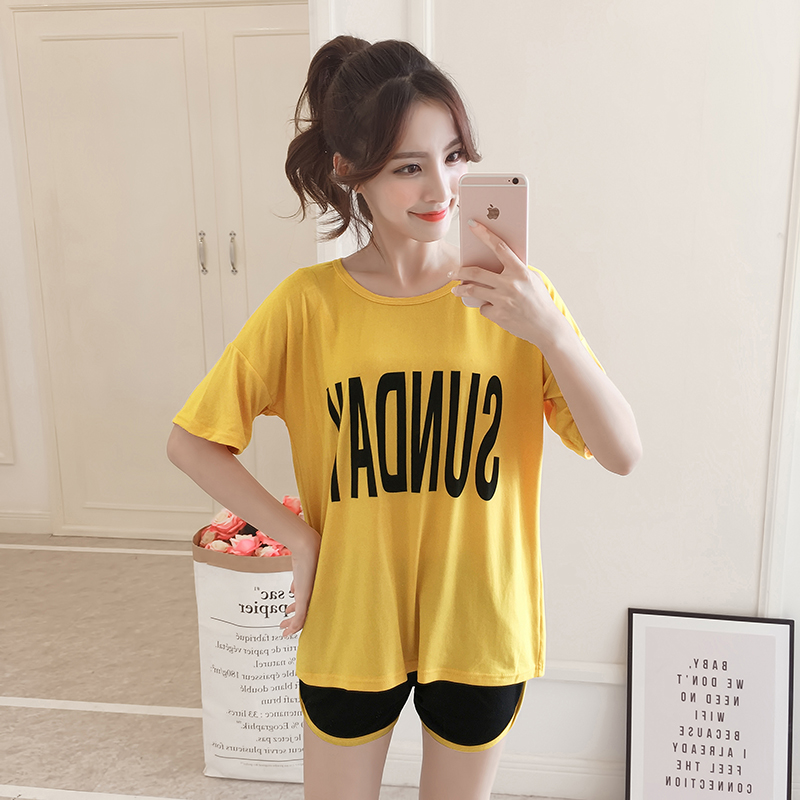 Soprt Leisure Clothes Newest 2019 Spring & Summer Short Sleeved Women Pajamas Cotton Pyjamas Lovely 90S Sleepwear Clothing
