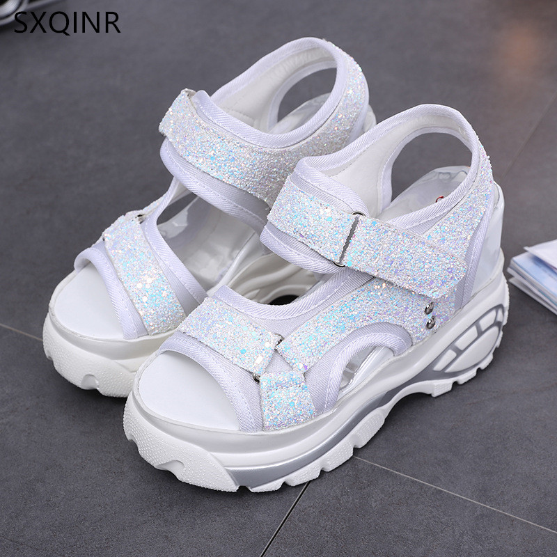 цена на Woman Sandals 2018 Summer Women Concise Platform Sequins Casual Shoes Woman Fashion Thick Bottom Wedges Sandals