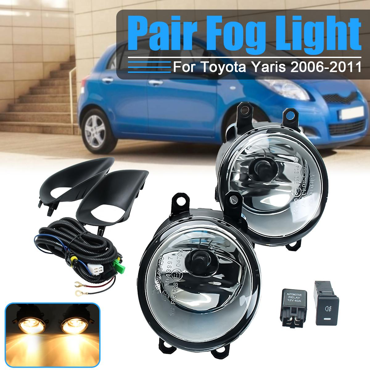 Pair Car Front Clear Fog Light + Switch Harness Cover For Toyota Yaris Sedan 4DR 2006 2007 2008 2009 2010 2011 1set front chrome housing clear lens driving bumper fog light lamp grille cover switch line kit for 2007 2009 toyota camry