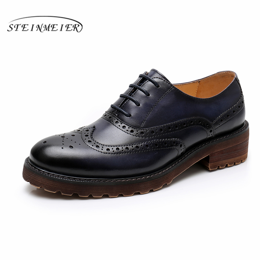 Yinzo Women's Flats Oxford Shoes Woman Genuine Leather Sneakers Ladies Brogues Vintage Casual  For Women 2019 Summer Shoes