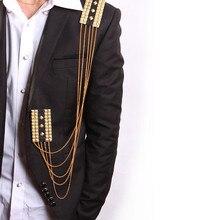 2016 Palacio del caballero de la vendimia broches medalla charretera hombres traje decoración de la cadena larga de la borla del remache broche de joyería del regalo del amante