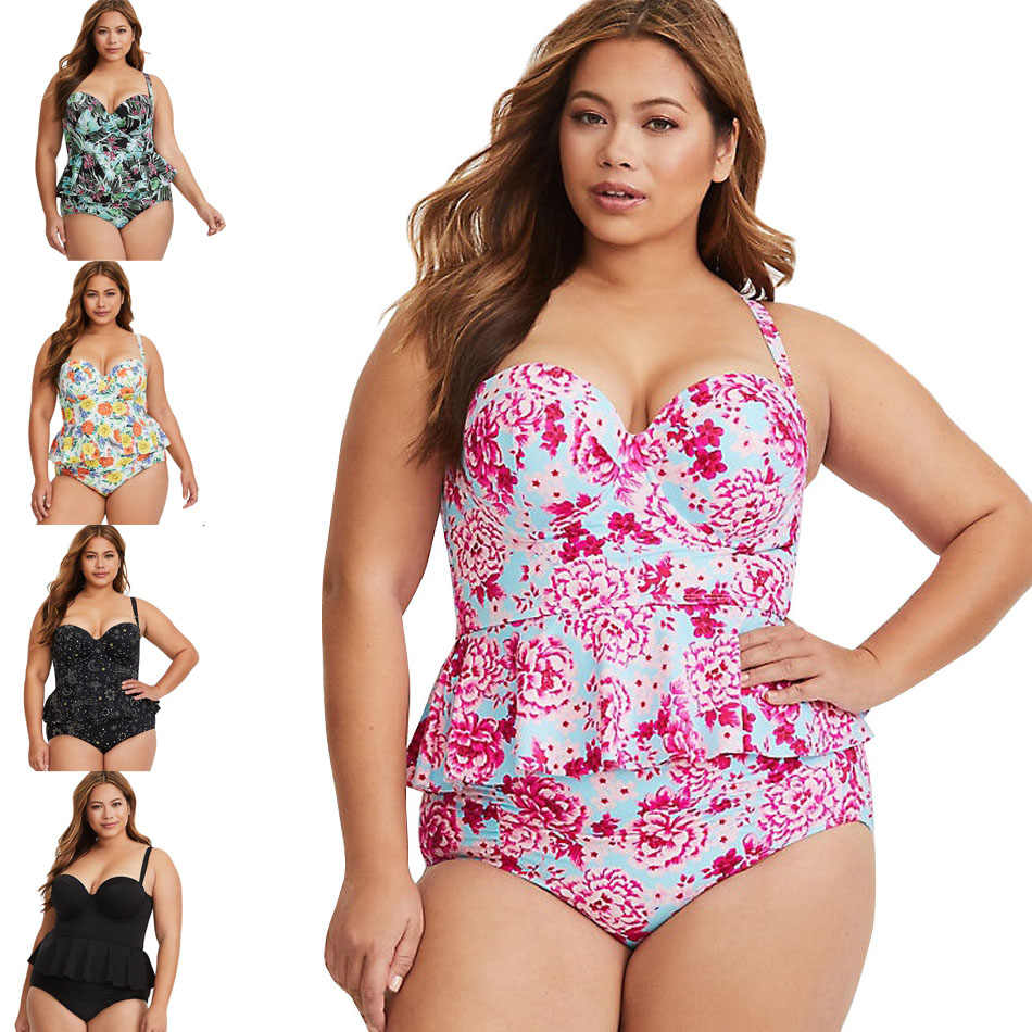 2019 New Sexy Women Swimsuit Plus Size XXXL Swimwear Tankini Strappy Swimwear Patchwork Print Female Bathing Suits Beach Dress