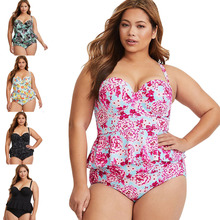 2019 New Sexy Women Swimsuit Plus Size XXXL Swimwear Tankini Strappy Swimwear Patchwork Print Female Bathing Suits Beach Dress цена 2017