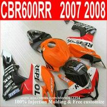 Инъекций кузов обтекателя kit для Honda CBR600RR 2007 2008 оранжевый черный обтекатели комплект CBR 600RR 07 08 143NT