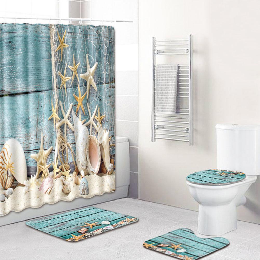 7Pcs /Set Marine Life Waterproof Shower Curtain Turtle Bathroom