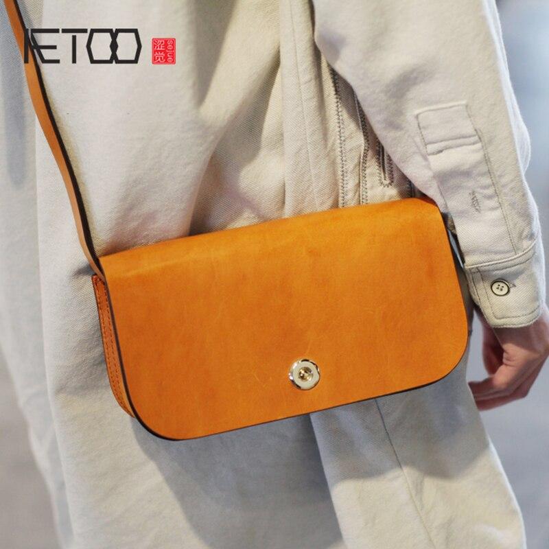 AETOO Simple small square bag female retro literary single shoulder crossbody bag temperament small bag