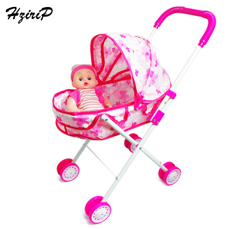 HziriP Kids Birthday Gifts Plastic Baby Stroller For Doll Dollhouse Furniture Pretend Play Simulation Baby Stroller Toy For Girl hot sale set plastic kitchen food fruit vegetable cutting toys kids baby early educational toy pretend play cook cosplay safety