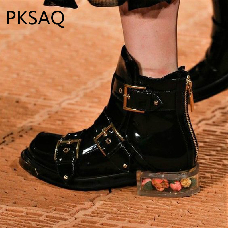 Autumn Winter Womens Shoes New Thick Round Head Short Boots Belt Buckle Zipper Martin Boots Party Show Cool Motorcycle Boots цена 2017