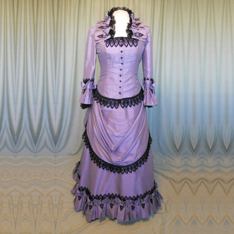 2016 Purple Cotton Long Sleeves Gothic Victorian Banquet Bustle Dress 18th Century Lace Ruffles Marie Antoinette Ball Gowns
