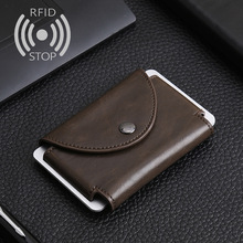 Wholesale Card Holder Travel Mini Wallet Metal Crazy Horse PU Credit Card Holder Male Man Id Card Holder Porter Ordering Wallet cheap weduoduo Metallic Unisex CN(Origin) Solid 6 6cm 10cm Card ID Holders Hasp Business Pillow PU leather+ metal red black brown blue coffee
