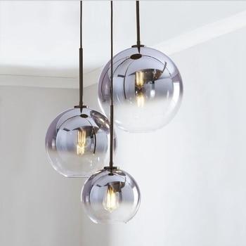 LukLoy Loft Modern Pendant Light Silver Gold Glass Ball Hanging Lamp Hanglamp Kitchen Light Fixture Dining Living Room Luminaire