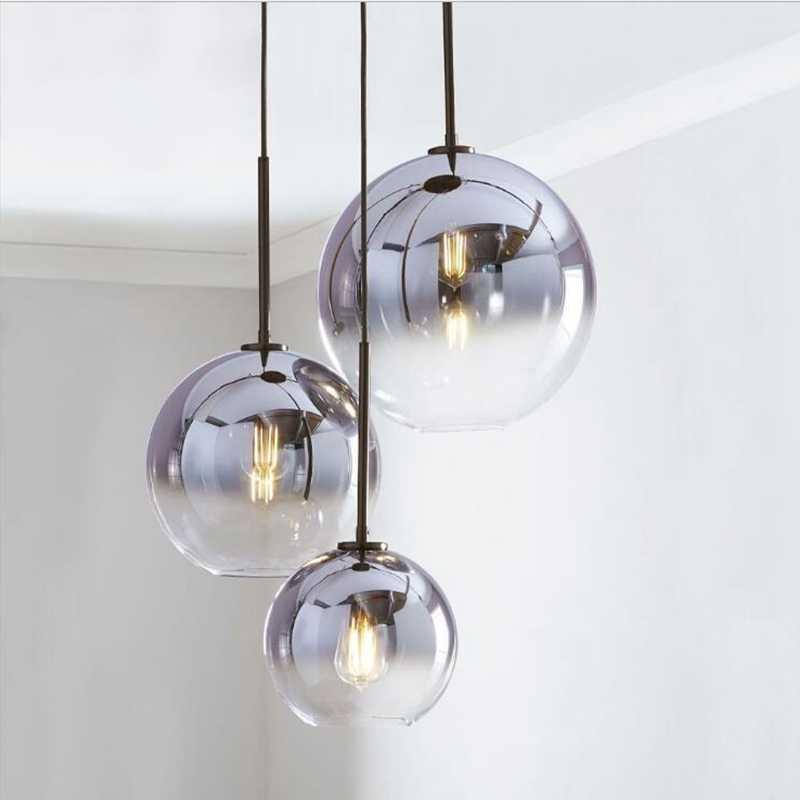 Verwonderlijk Lukloy Loft Moderne Hanglamp Zilver Goud Glazen Bal Opknoping Lamp LJ-37