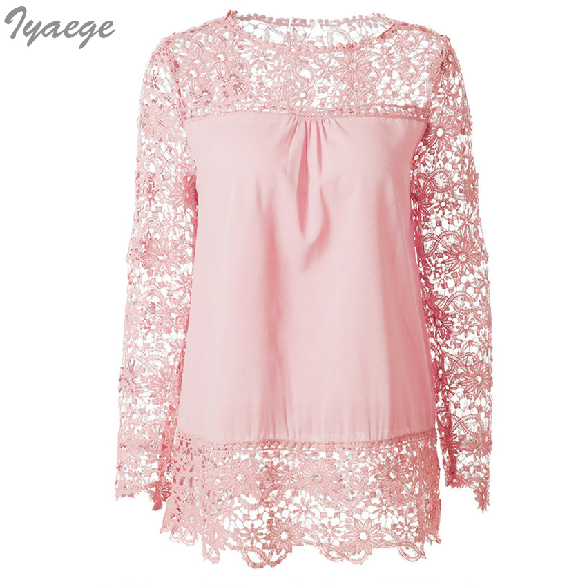 5XL Women Plus Sizes Chiffon Lace Blouse Shirts Long Sleeve Sexy Top Tees Solid Summer Femme Blusas Crochet Women's Blouses 6XL