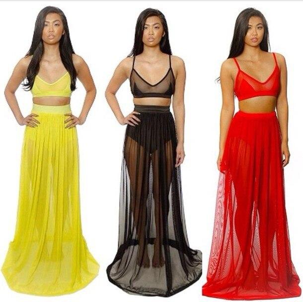 b51150b7cb 2014 New Celebrity Maxi Sexy Chiffon Straps Long Summer Swim Wear Dress, 2 Piece  Set Women Gauze Beach Dress Yellow, Red, Black
