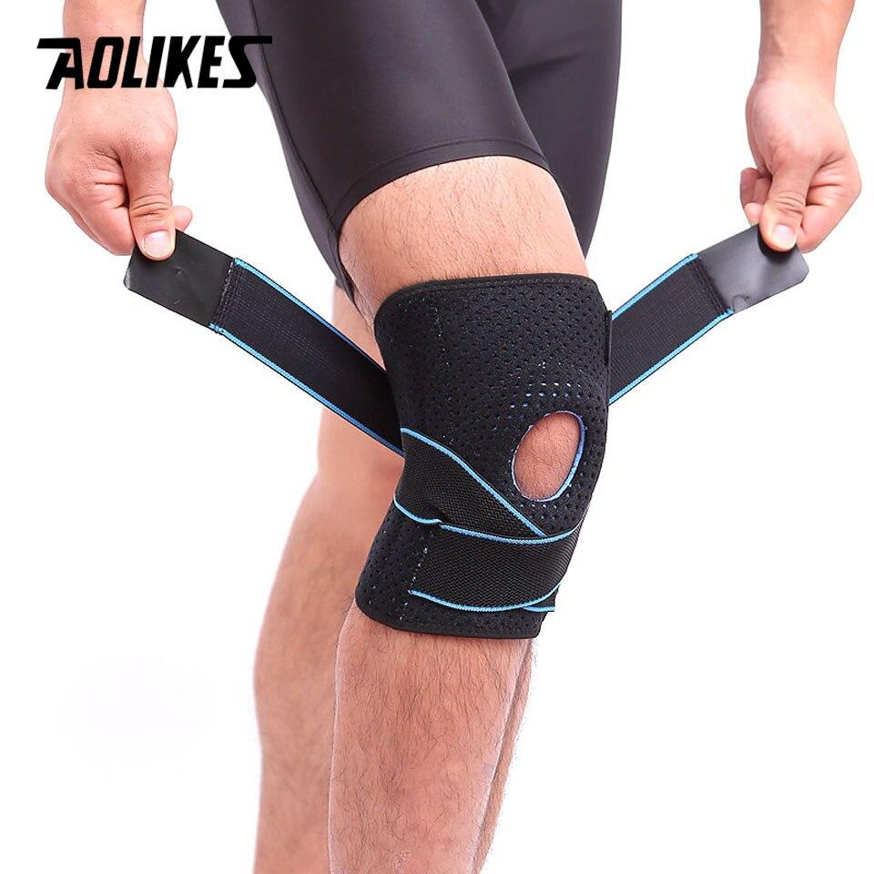 AOLIKES 1 STÜCKE Atmungsaktiv Einstellbare Elastischen Sport Leg Knie Unterstützung Klammer Patella Wrap Beschützer Pads Sleeve Cap Loch Sport