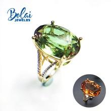 Bolai S925 اللون تغيير Zultanite سوليتير خاتم الذهب الأصفر لهجة فضة 12.0ct خلق diasig للنساء كوكتيل