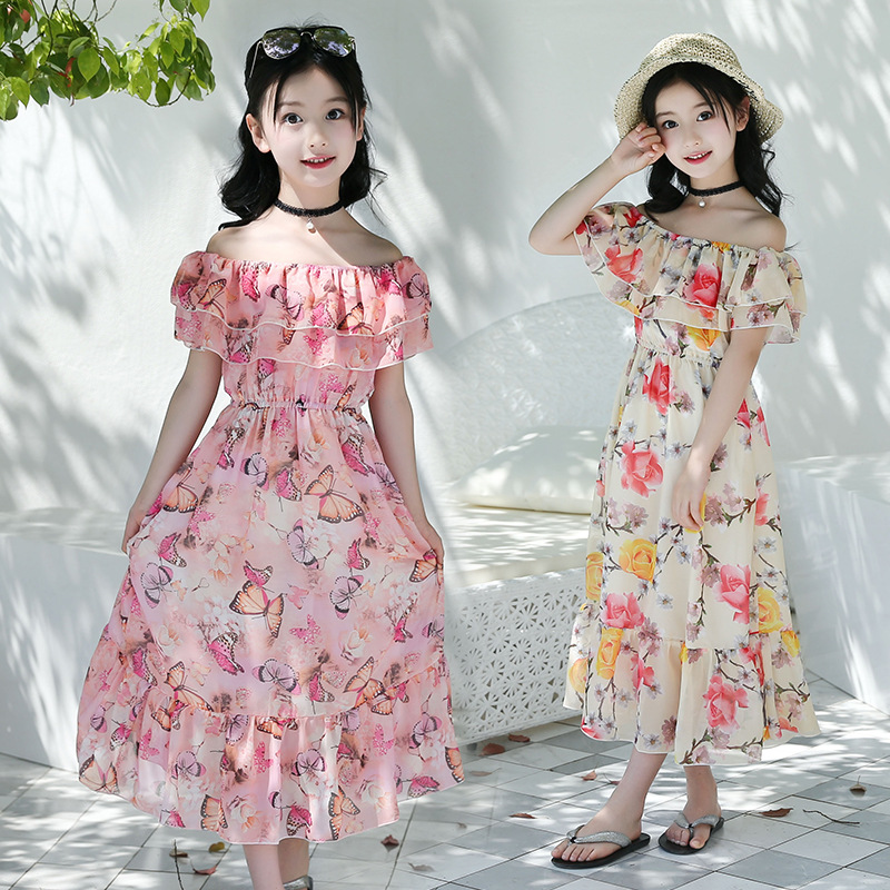 2018 New Girls Dress Beach Bohemian Summer Children's Dresses Floral Princess Party Dress for Girl Vestidos 4 6 8 10 12 13 Years long dress new fashion trend bohemian dress for girls beach tunic floral beach maxi dresses kids birthday party princess dresses