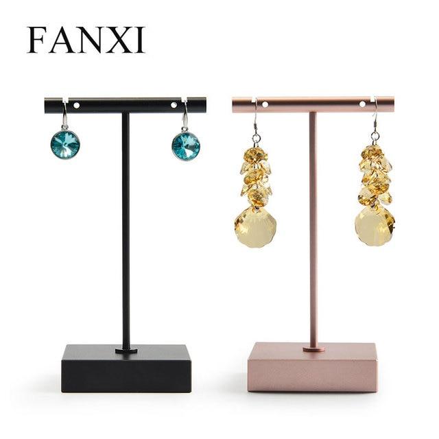 6 Pcs Lot Fashionable Metal Earring Stand Rack T Shape With Hole Earrings Holder Jewelry