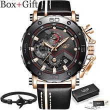 LIGE New2019 mode hommes montres Top marque de luxe grand cadran militaire montre à Quartz en cuir étanche Sport chronographe montre hommes