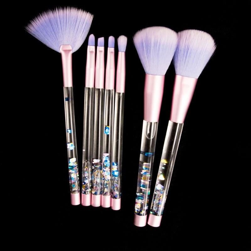 7 pcs Diamant Licorne Professionnel Pinceaux de Maquillage Brosse Kwasten Set Glitter Cristal Maquillage Brosses Kit Sirène Cosmétiques Outil