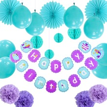 20pcs Mermaid Birthday Party Decorations Under the Sea Banner Paper Star Pom Girl Oceanic  Supplies