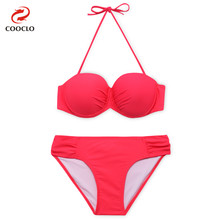 COOCLO Solid Color Bikinis Set 2019 Women Swimwear Halter Push up Swimsuits Bandeau Beach Wear Vintage Retro Bathing Suits Femme