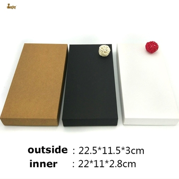 20pcs/lot 22.5x11.5x3cm Black/brown/white Kraft paper DIY Retro Wallet box jewelry handkerchief scarf gift boxes Default black
