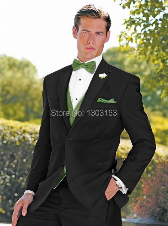 701458925 أزياء نمط الأسود الذروة التلبيب رفقاء العريس الرجال بذلات الزفاف أفضل رجل  بذلات حفلة موسيقية الملابس (سترة + سروال + سترة + التعادل)
