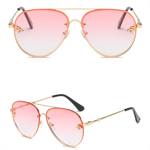 ASOUZ 2019 new fashion ladies sunglasses UV400 metal oval frame bee sunglasses classic brand design sports driving sunglasses Karachi